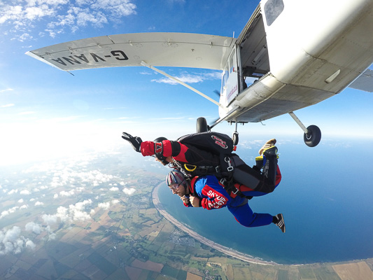 Two totally blind men skydive 13,000 ft for Northamptonshire's sight support charity, NAB